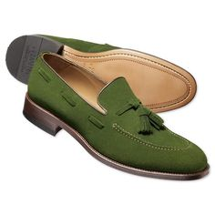 Green suede tassel loafers | Men's business shoes from Charles Tyrwhitt | CTShirts.com