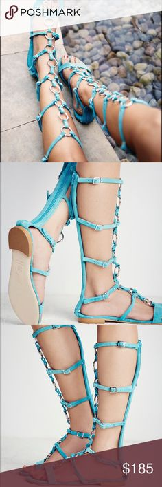 Free People road trip gladiator sandal suede meta New it's silver ring details all up and buckles at the sides. Back zip entry. They are a turquoise green/blue color. Very comfy and just so cute! Light wear on bottom sole from storage. Free People Shoes Sandals