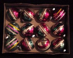 12 Vintage Christmas Tree Ball Ornaments: Robert's is the blue one on the lower left!