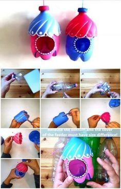 20 Handmade Recycled Bottle Ideas - - So have a look at these 20 Handmade DIY plastic bottles ideas. Just grab some empty plastic bottles, a pair of scissors, some paint to get the home decor ideas. Empty Plastic Bottles, Plastic Bottle Crafts, Recycled Bottles, Wine Bottle Crafts, Plastic Recycling, Milk Bottles, Pet Bottle, Bird Crafts, Craft Ideas