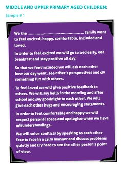 Middle and Upper Primary School Aged Children Sample Family Charter (Raise Happy Families Program) #parentingideas