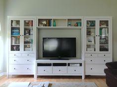 IKEA Hemnes entertainment center- like this but need height to be taller/more bookshelves