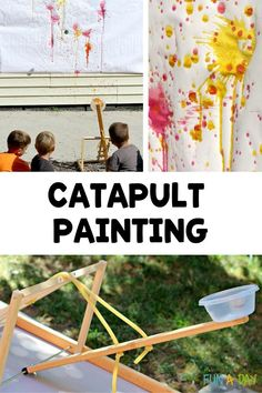 An irresistible summer art project for kids - paint with a catapult! There's so much learning involved, from making the catapult to exploring different cause-and-effect reactions. Super fun process art for all!
