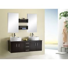Virtu USA Enya 60 Inch Double Sink Bathroom Vanity Set By VIRTU USA
