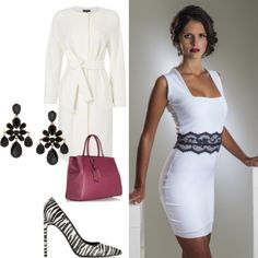 """""""Set Your Spring Style with White"""".  This spring, set your style with gorgeous, bright whites like Perlae Couture's White Cocktail Dress with Black Lace Belt. Step into a pair of Saint Laurent Printed elaphe pumps for added flair, then accessorize with Oscar de la Renta Earrings and this great Rasberry Leather Shopper by Fendi. Complete your outfit with a sophisticated belted dress coat by John Lewis.   #cocktaildress #whitedress #springfashion"""