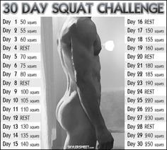 30 Day Squat Challlenge for Men or Women