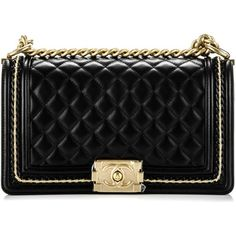 6fa48f454042 CHANEL Lambskin Quilted Medium Chain Detail Boy Flap Black ❤ liked on  Polyvore featuring bags, handbags, quilted handbags, cocktail purse, chanel  purse, ...