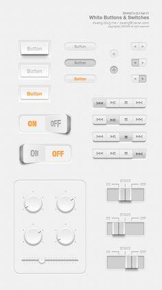 ZWANG's free GUI set 01 - White Buttons by Zwang Kim at Behance
