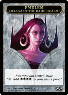 Magic: the Gathering - Emblem - Liliana of the Dark Realms (11) - Magic 2013 by Wizards of the Coast. $1.25. This is of Common rarity.. A single individual card from the Magic: the Gathering (MTG) trading and collectible card game (TCG/CCG).. From the Magic 2013 (M13) set.. Magic: the Gathering is a collectible card game created by Richard Garfield. In Magic, you play the role of a planeswalker who fights other planeswalkers for glory, knowledge, and conquest. ...