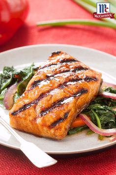 American grilling combines with Asian stir frying to create an easy seafood dinner recipe: Grilled Salmon with a Chipotle maple marinade.
