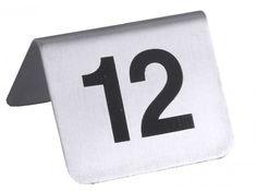 Tischnummernschild mit Nummern 1 bis 12