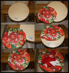 need 15 in red and 15 in green.pick the material for plates rimmed in silver Diy Crafts To Sell, Diy Crafts For Kids, Deco Table, Mug Rugs, Diy Party, Creative, Decoupage, Diys, Table Settings