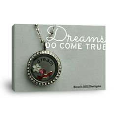 Jewelry _ South Hill Designs by Kelly McGraw #66130 Med silver crystal locket with med dream coin and floating charms