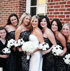 Black lace bridesmaid dresses