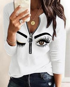Diy Cut Shirts, Casual T Shirts, Casual Wear, Chic Type, Presents For Girls, Sleeve Styles, Amazing Women, Long Sleeve Tops, Espadrilles