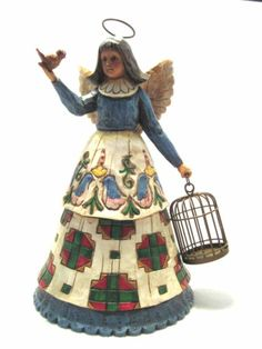 Retired New w Tag Jim Shore Folk Art Angel with Bird Cage Heartwood Creek | eBay
