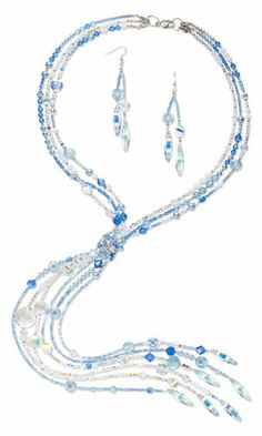 Triple-Strand Convertible Necklace and Earring Set with SWAROVSKI ELEMENTS and Sterling Silver Beads - Fire Mountain Gems and Beads