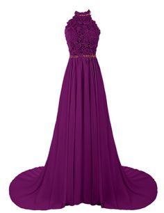 Dresstells® Women's Halter Long Prom Dresses Bridesmaid Wedding Dress White Size 6