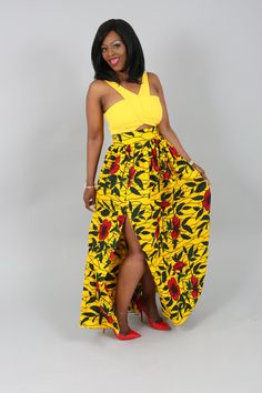 African clothing : yellow floral print maxi skirt Ankara maxi skirt, African print maxi skirt, Maxi skirt, African fashion, African Skirt (affiliate)
