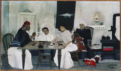 Horace Pippin, Domino Players, 1943. Oil on composition board, 2 3/4 x 22 in. (Ima