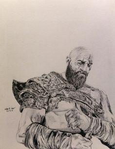 God of War - Kratos Pen Drawing