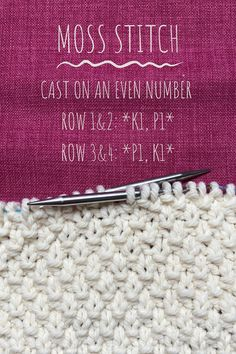 Learn to knit the moss stitch today 💛 Textured patterns built of knits and purls are easy to knit, can be added to almost any project and looks great! Knit Stitches For Beginners, Beginner Knitting Patterns, Easy Knitting, Knitting Projects, Knitting Tutorials, Knitting Ideas, Sewing Projects, Moss Stitch, Seed Stitch