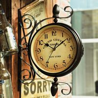 Ferro antigo relógio de dupla face relógio de ferro decoração 40 * 40 cm