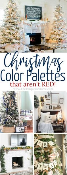 Decorate with these gorgeous Christmas color palettes that aren't red! Treatment Projects Care Design home decor Christmas Colour Schemes, Christmas Trends, Christmas Colors, Christmas Inspiration, All Things Christmas, Christmas Home, Turquoise Christmas, Xmas, Cottage Christmas