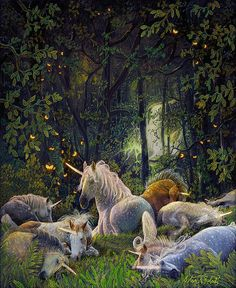 Fantasy Unicorn Paintings Painting - Peace On Earth by Steve Roberts Fantasy Unicorn, Unicorn And Fairies, Unicorns And Mermaids, Unicorn Art, Magical Unicorn, Magical Creatures, Fantasy Creatures, Fantasy Kunst, Fantasy Art