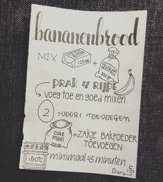 Het recept voor bananenbrood bestel via het contactformulier op www.doralijn.jouwweb.nl . . . . #doralijn #dutchlettering #letterart #lettering #modernlettering #handletteren #letters #handlettering #handlettered #handgeschreven #handdrawn #handwritten #creativelettering #creativewriting #creatief #typography #typografie #moderncalligraphy #handmadefont #handgemaakt #sketch #doodle #tekening #illustrator #illustration #typespire #dailytype #quote Round Robin, Bullet Journal 2, Food Journal, Cooking With Kids, Food Illustrations, Kitchen Recipes, Journal Inspiration, Handwriting, Food Hacks