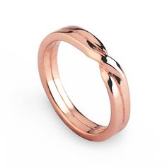 LOVE KNOT Ring, Rose Gold Wedding Band, Unique Mens Wedding Band Rose Gold, Womens Wedding Band, His and Hers Wedding Ring Gold