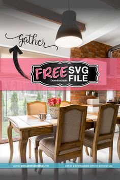 Gather Free SVG file for the Cricut Silhouette Sign, Silhouette Files, Silhouette Projects, Gather Wood Sign, Free Svg, Sign Fonts, Kitchen Decor Items, Cricut Help, Cricut Monogram