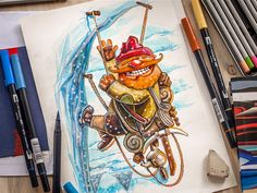 Character concept.  A4 paper, Tombow watercolor markers, Copic multiliners. Pebble Painting, Pebble Art, Painting & Drawing, Character Concept, Character Design, Character Reference, Daily Inspiration, Design Inspiration, Doodle
