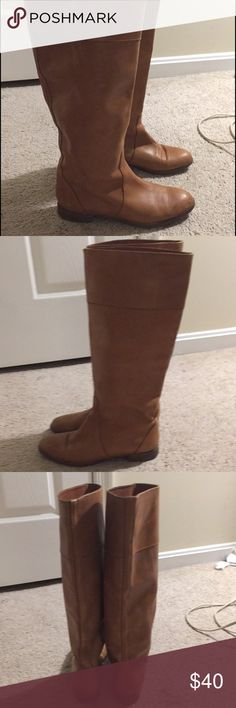 J Crew tan leather boots size 8.5 Knee high length J Crew all leather boots. Flat, no heel. Scuffs here and there but in very good shape, and the soles have only cosmetic but not structural wear. Very Molly Ringwald :) J Crew Shoes Heeled Boots