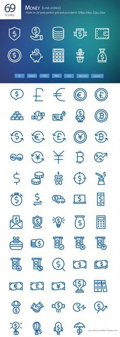 69 Money line icons Collection Pack, that are part of the full #Vector #Line…