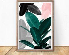 Leaf Art Print, Digital Download, Modern Tropical, Tropical Wall Art, Scandinavain Print, Modern Leaf Print, Large Poster, Art for Printing