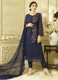 New Dark Blue Designer Dress Material
