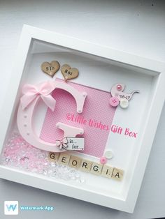 Baby Girl birth / child initial box frame New Baby Nursery