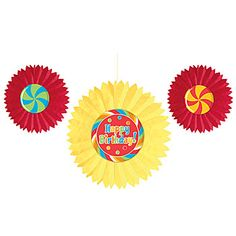 #Sugar Buzz Fan Decorations feature red and yellow fan bursts with coordinating candy centers.