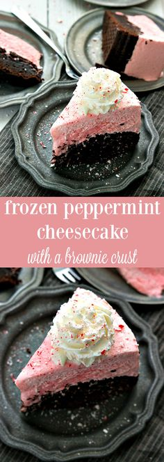A delicious and simple frozen peppermint cheesecake with a brownie crust. Make it even simpler by doing an oreo crust!