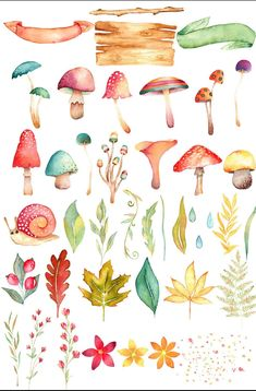 mushroom clipart fall clipart woodland clipart fall Earning money has always been associated with traditional ways in the actual world. Watercolor Animals, Watercolor Flowers, Watercolor Paintings, Tattoo Watercolor, Simple Watercolor, Watercolor Background, Watercolor Landscape, Abstract Watercolor, Mushroom Clipart