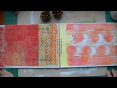 I have done this with my gelli pages only I bound them with the pamphlet stitch in half...I really like this idea because you get the whole page. I love this!!