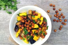 Aubergine Mango Salad with Spicy Roasted Chickpeas [vegan]  Seems like this should be good with grilled eggplant, to cut down the fat a bit...