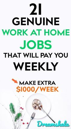 21 genuine work at home jobs that will pay you weekly. 21 genuine work at home jobs that will pay yo Earn Money From Home, Earn Money Online, Make Money Blogging, Online Jobs, Way To Make Money, Money Fast, Saving Money, Cash Money, Quick Money