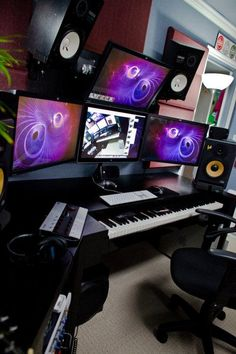 Check out this massive list of home studio setup ideas. Filter down by room colors, number of monitors, and more to find your perfect studio. Home Recording Studio Setup, Home Studio Setup, Music Studio Room, Studio Desk, Sound Studio, Dream Studio, Dj Setup, Gaming Setup, Room Setup