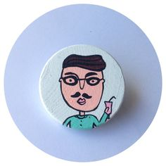 Hipster Hand painted wooden brooch от stakshop на Etsy, €11.50