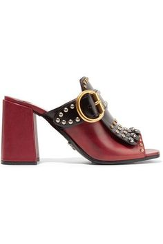 Heel measures approximately 85mm/ 3.5 inches Claret and black leather Slip on Made in ItalySmall to size. See Size & Fit notes.