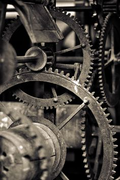 inspiration for home office.  i love when people decorate with gears and the industrial look.