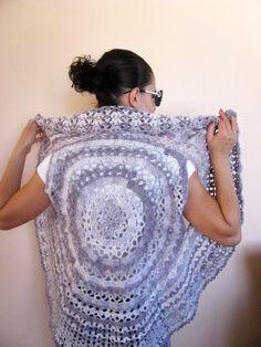 Hand Crocheted Dolly Circle Elegant VEST in light grey shades