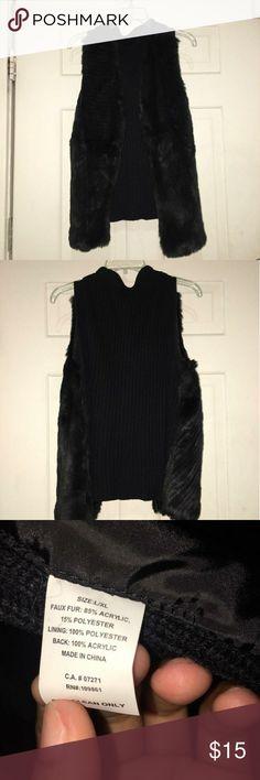 Faux fur vest Black faux fur vest worn once. The pictures show front and back of vest. The vest does not have zipper or buttons. Jackets & Coats Vests